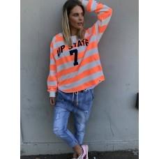 Hammill & Co  Up State 7 cotton sweater  - neon orange