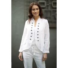 Italian Star Military Style Linen Jacket - White