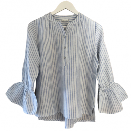 Linseed Designs Linen shirt - Sia in blue and white stripe