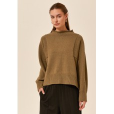 Tirelli high neck relaxed fit cotton blend jumper - pesto
