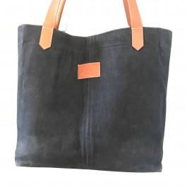 Canvas Tote Bag - Black - Leather Straps