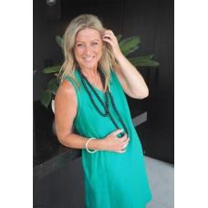 Linseed Designs Emerald green linen Kelli dress