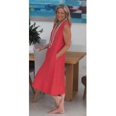 Linseed Designs linen Victoria dress - Deep watermelon