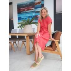 Linseed Designs linen Scarlet dress - Deep watermelon