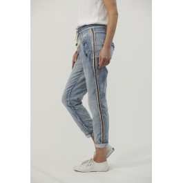 Italian Star Denim Jogger Jeans with gold trim