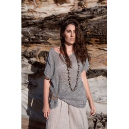Linseed Designs linen gauze Maggie Top - black and white