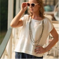 Linseed Designs Ava white linen crop top